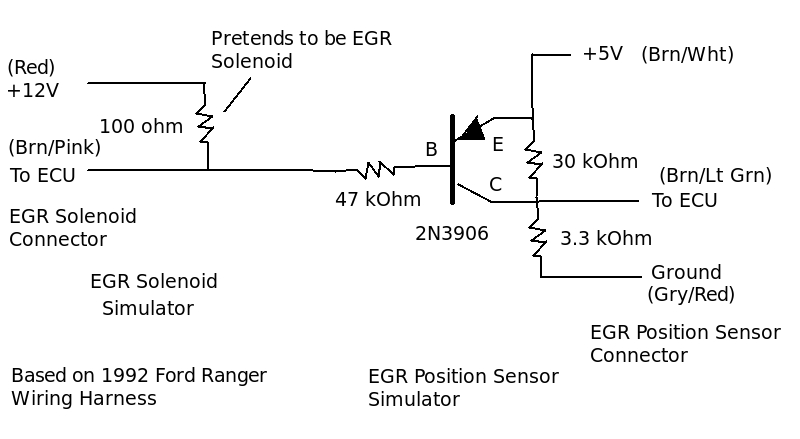 exhaust gas recirculator (egr) sensor route 66 hot rod high 2000 Ford Ranger EGR Valve Location in the preceding circuit, i used an inexpensive $0 25 pnp transistor, 2n3906 to fool the ecu into thinking that the egr valve was in the correct position